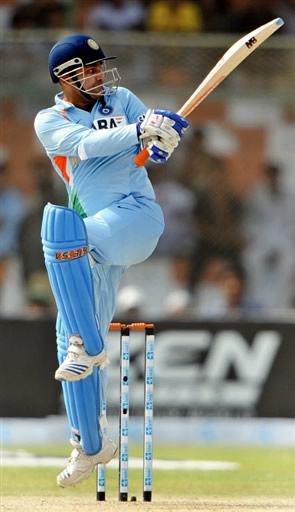 Sehwag plays a pull shot