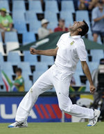Imran Tahir celebrates having Thisara Perera caught at slip