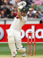 Ed Cowan drives on Test debut