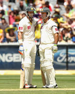 Michael Hussey and Ricky Ponting steadied Australia