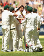 Australia congratulate Ben Hilfenhaus on his five-for