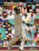 Michael Clarke hits down the ground