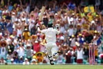 Michael Clarke pumps his fist after reaching his century