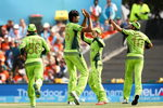 Mohammad Irfan celebrates the wicket of Chris Gayle