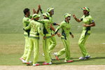 Sohail Khan celebrates after taking a wicket