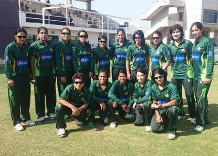 Pakistan Women pose for a photograph after winning the match