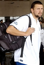 Steve Harmison arriving at Lahore Airport, 03 November 2005