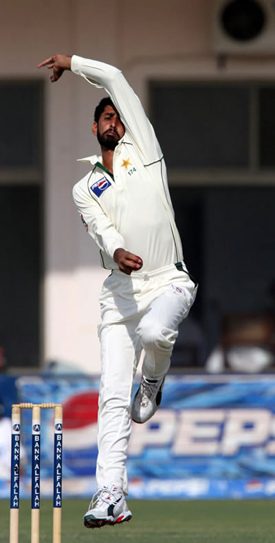 Shabbir Ahmed delivers a ball