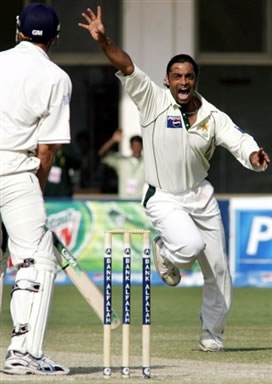 Shoaib Akhtar celebrates after getting a wicket