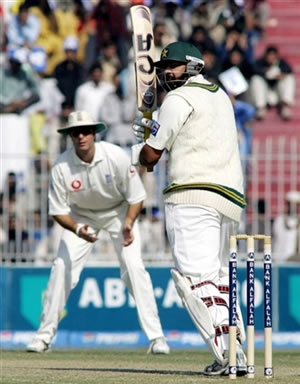 Inzamam-ul-Haq plays a shot to leg side