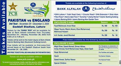 PCB advertisement for Lahore Test tickets