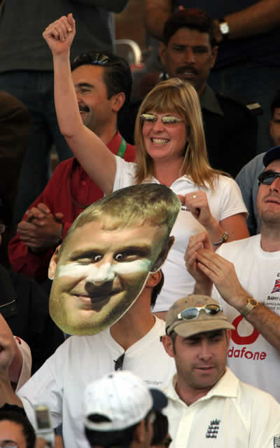 Big mask of Andrew Flintoff in the crowd